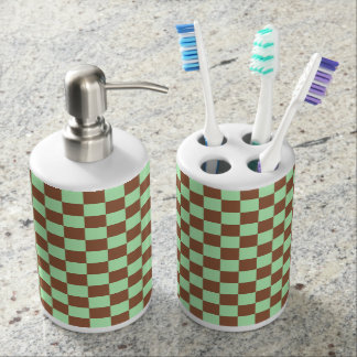 Checkered Pastel Green and Brown Soap Dispenser And Toothbrush Holder