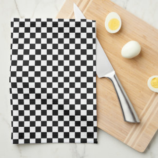 Checkered Pattern Black and White Kitchen Towel