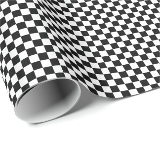 Checkered Pattern Black and White Wrapping Paper