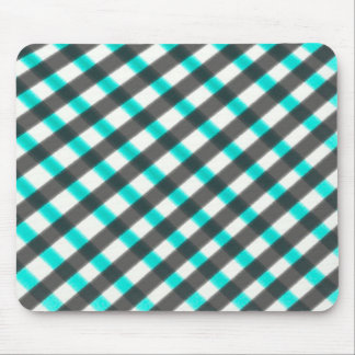 Checkered pattern blue black white mouse pad