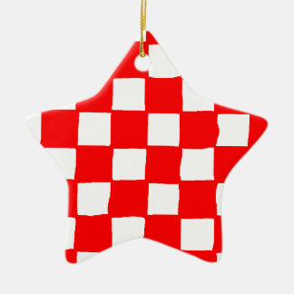 checkered pattern (red) ceramic star ornament