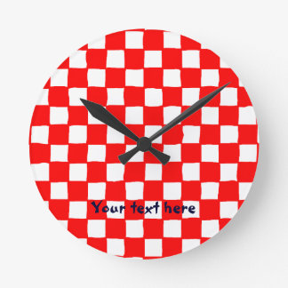 checkered pattern (red) Wall Clock