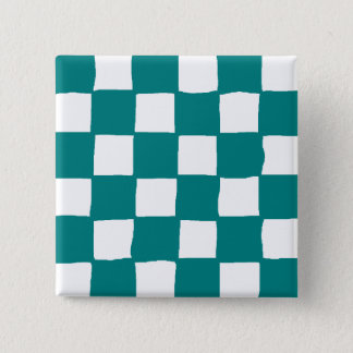 checkered pattern (teal) 2 inch square button