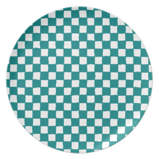 checkered pattern (teal) Plate