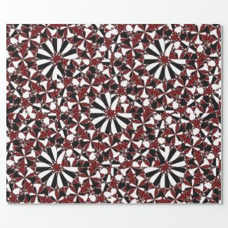 Checkered Petals Fractal Wrapping Paper
