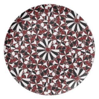 Checkered Petals Melamine Plate