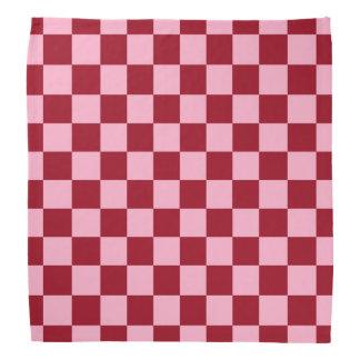 Checkered Pink and Burgundy Bandana