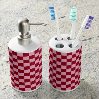 Checkered Pink and Burgundy Soap Dispensers