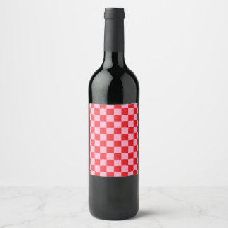 Checkered Pink and Red Wine Label