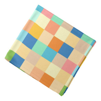 Checkered Print Square Pattern Multicolor Bright Bandana