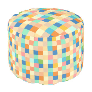 Checkered Print Square Pattern Multicolor Bright S Pouf
