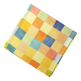 Checkered Print Square Pattern Print Bandana