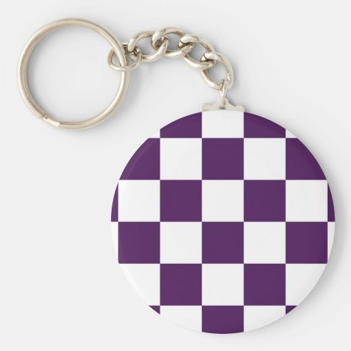 Checkered Purple and White Key Chains