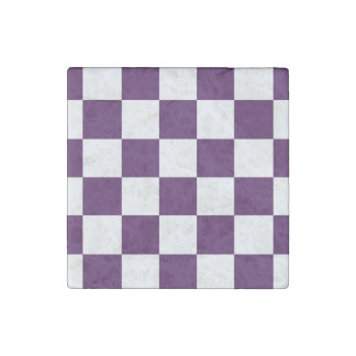 Checkered Purple and White Stone Magnets