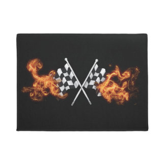 Checkered race flags on fire. doormat