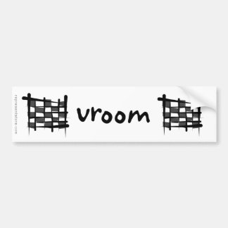 Checkered Racing Brush Flag Bumper Sticker