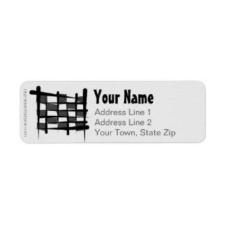Checkered Racing Brush Flag Return Address Label