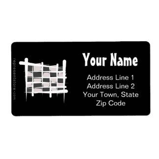 Checkered Racing Brush Flag Shipping Label