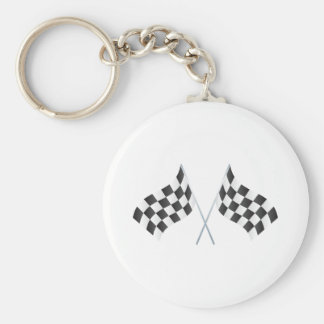 checkered racing flags graphic basic round button keychain