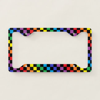 Checkered Rainbow Black License Plate Frame