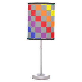 Checkered Rainbow Gray Table Lamp