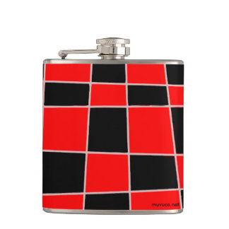 Checkered red and black customizable flasks