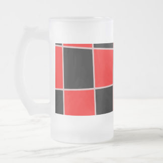 Checkered red and black customizable frosted glass beer mug