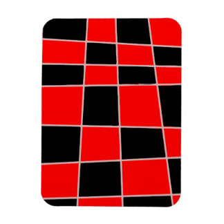 Checkered red and black customizable rectangular photo magnet