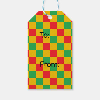 Checkered Red, Green and Gold Gift Tags