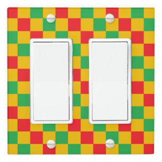 Checkered Red, Green and Gold Light Switch Cover