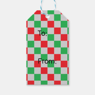 Checkered Red, Green and Silver Gift Tags