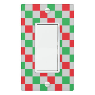 Checkered Red, Green and Silver Light Switch Cover