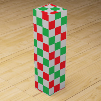 Checkered Red, Green and Silver Wine Gift Box