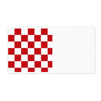 Checkered Red Shipping Label
