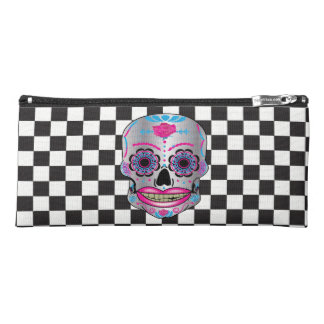 Checkered Rose Candy Skull Pencil Case