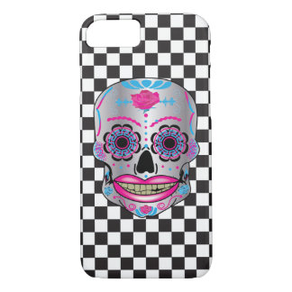 Checkered Rose Candy Skull Phone Case