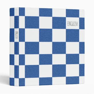 Checkered School Binder - Blue & White
