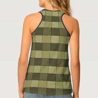 Checkered Shades of Khaki Squares Pattern Tank Top
