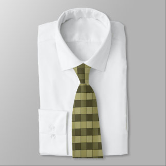 Checkered Shades of Khaki Squares Pattern Tie