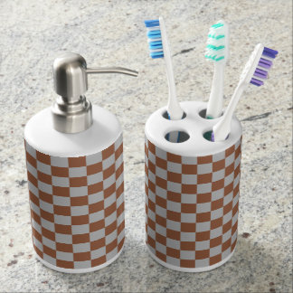 Checkered Silver and Brown Soap Dispenser And Toothbrush Holder