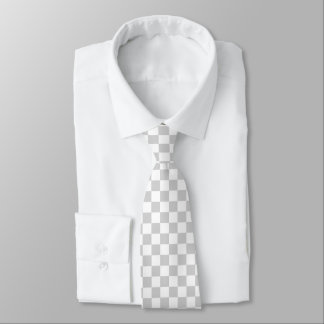 Checkered Silver and White Tie