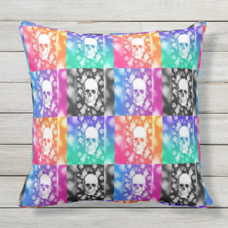 Checkered Skeletons Throw Pillow