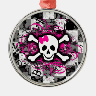 Checkered Skull With Hot Pink Splatter Silver-Colored Round Ornament