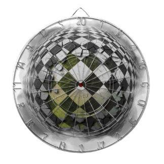 Checkered sphere 2 dartboard with darts