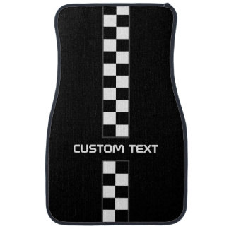 Checkered Stripe Car Floor Mats - with custom text Car Liners