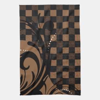 Checkered Swirly Pattern | Brown, Tan, Black Kitchen Towel