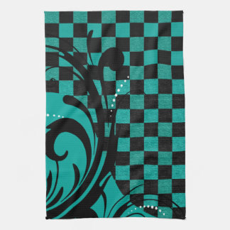 Checkered Swirly Pattern | Teal Blue, Black Kitchen Towel