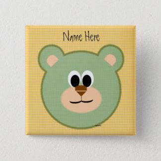 Checkered Teddy Bear 2 Inch Square Button