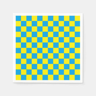 Checkered Turquoise and Yellow Paper Napkins