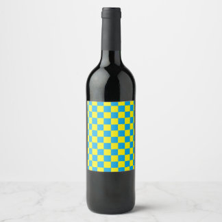 Checkered Turquoise and Yellow Wine Label